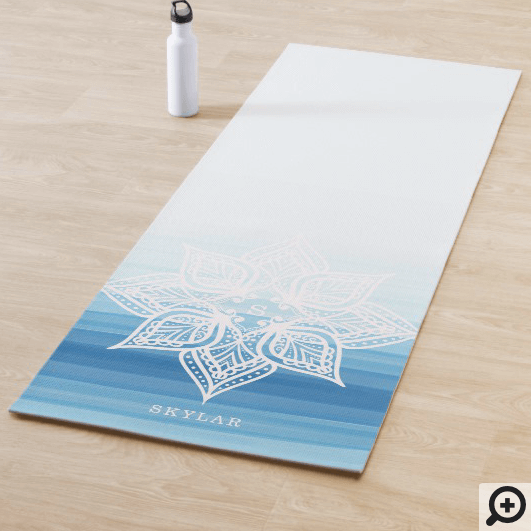 Blue Watercolor Ombre Gradient Mandala Monogram Yoga Mat
