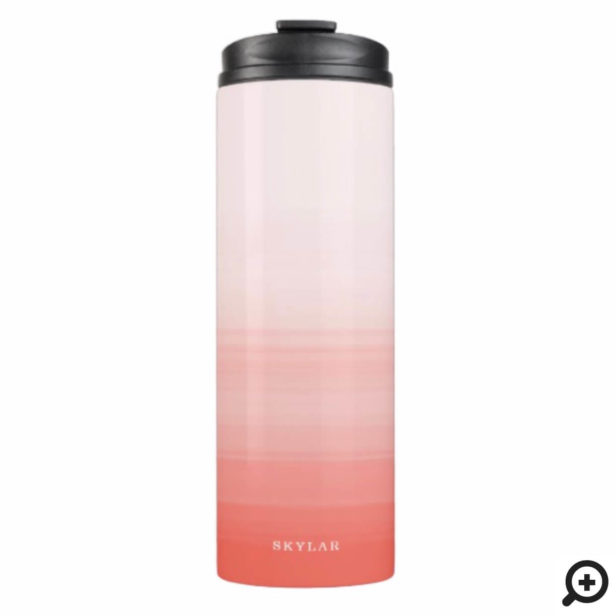 Coral Pink Watercolor Ombre Gradient Thermal Tumbler