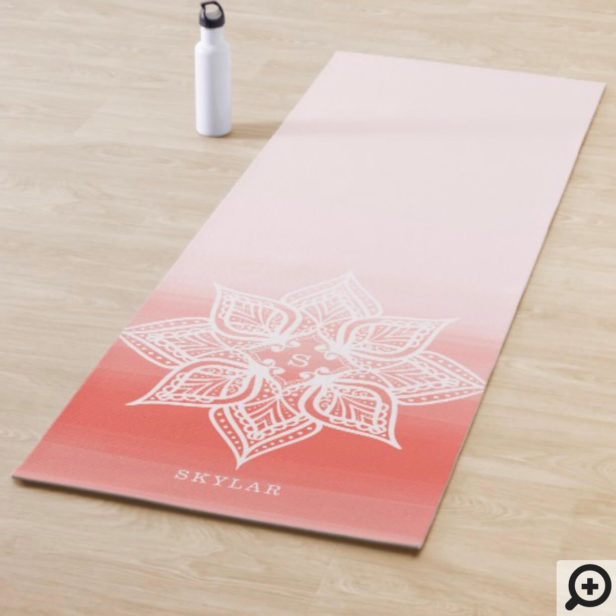 Coral Watercolor Ombre Gradient Mandala Monogram Yoga Mat