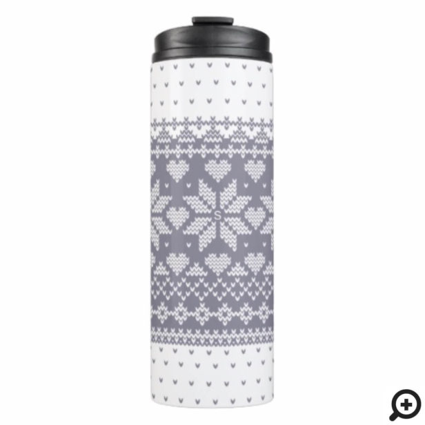 Cozy Knitted Sweater Pattern White & Grey Lilac Thermal Tumbler
