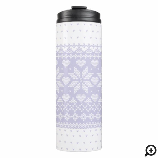 Cozy Knitted Sweater Pattern White & Periwinkle Thermal Tumbler