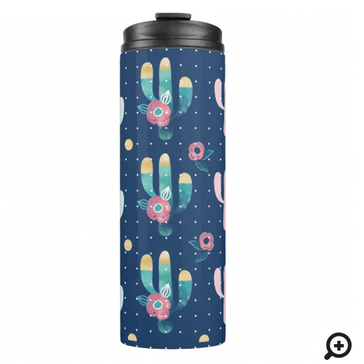 Cute, Trendy, Chic & Stylish Floral Cactus Pattern Thermal Tumbler