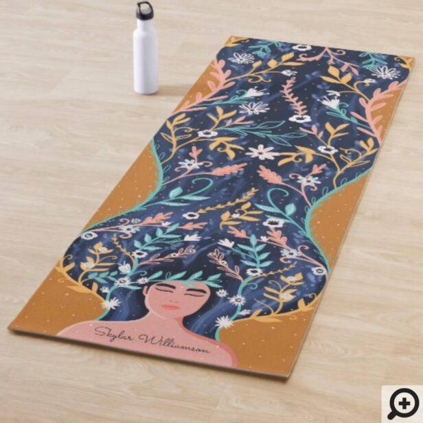 Floral Spiritual Woman Botanical Floral Forest Yoga Mat