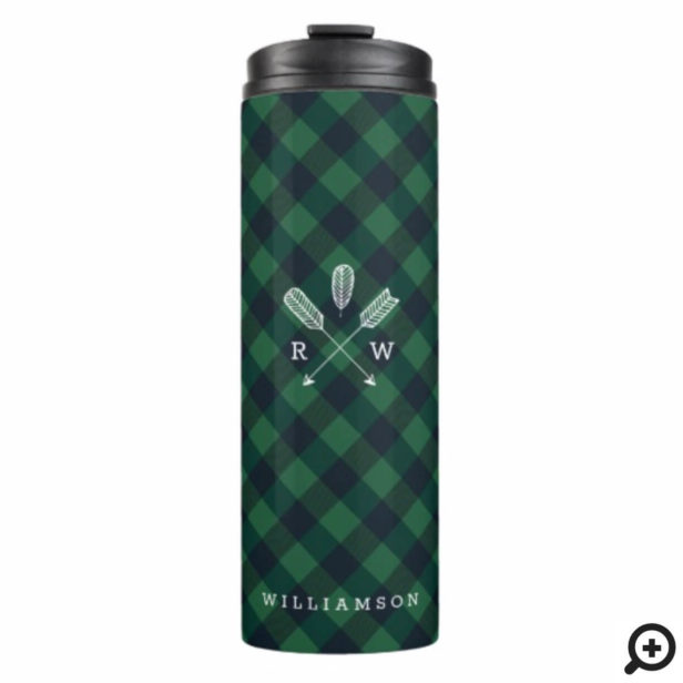 Forest Green Buffalo Plaid Pattern Arrow Monogram Thermal Tumbler