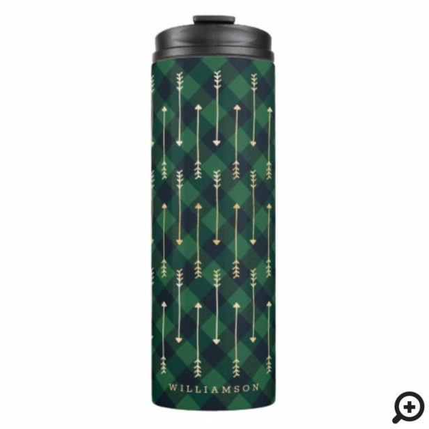 Green Buffalo Plaid Pattern Gold Arrow Pattern Thermal Tumbler