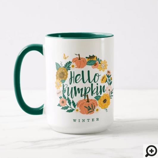 Hello Pumpkin Fall Wildflowers Butterfly Wreath Mug