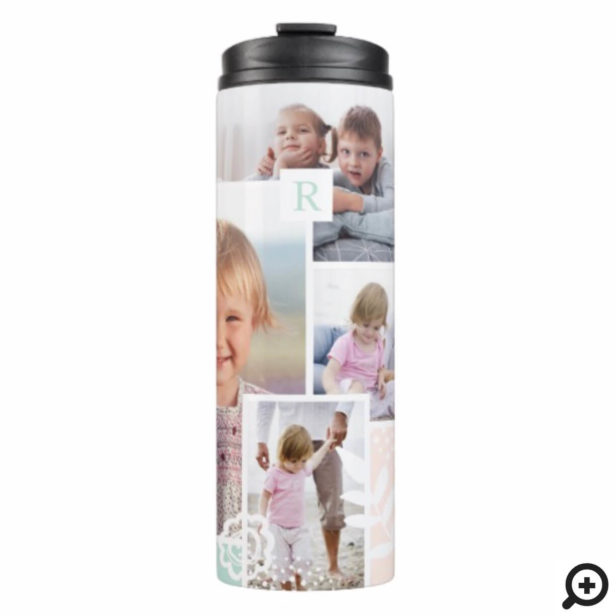 Monogram Multiple Photo Collage Chic Floral Design Thermal Tumbler