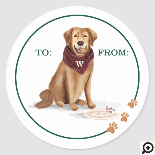 Naughty Dog Golden Retriever Christmas Cookies Classic Round Sticker