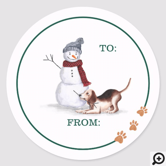 Naughty Dog Watercolor Beagle Playing With Snowman Classic Round Sticker
