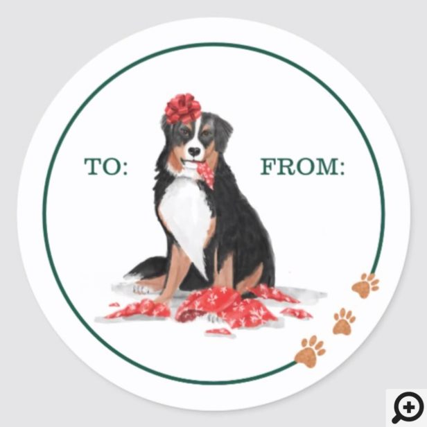 Naughty Dog Watercolor Burnese Mountain Chew Gift Classic Round Sticker
