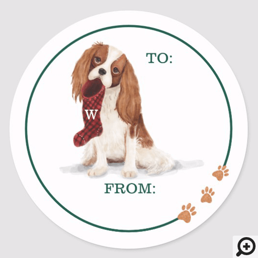Naughty Dog Watercolor Cavalier Spaniel Stocking Classic Round Sticker