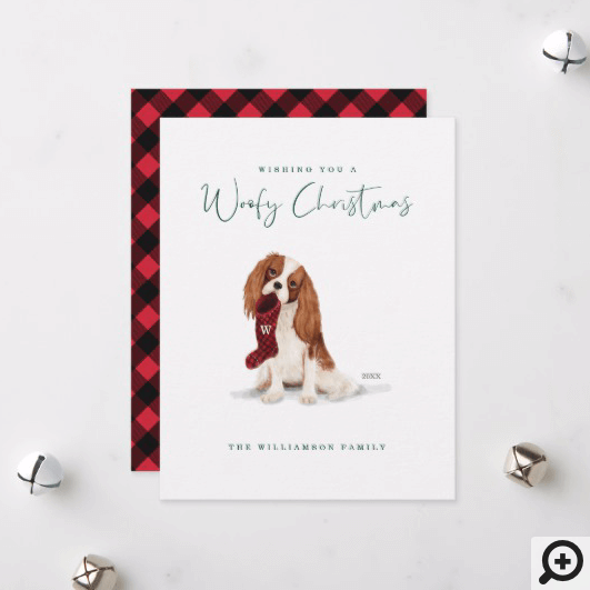 Naughty Dog Watercolor Cavalier Spaniel Stocking Holiday Card