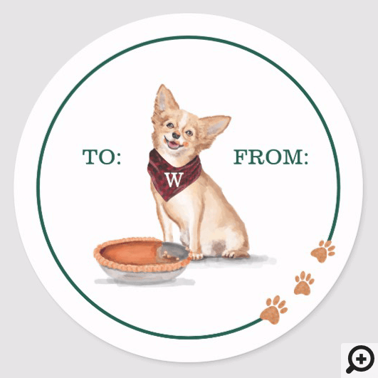 Naughty Dog Watercolor Chihuahua Eats Pumpkin Pie Classic Round Sticker