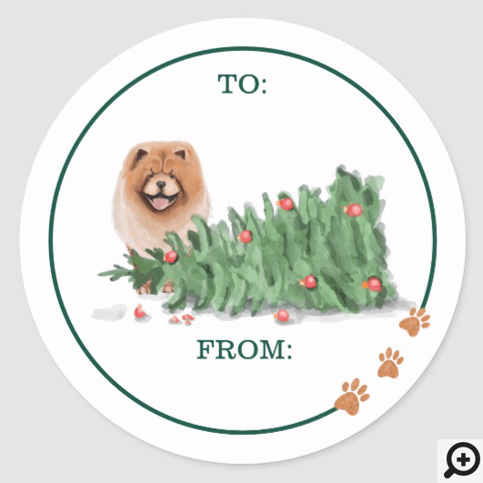 Naughty Dog Watercolor Chow Chow Knocked Tree Over Classic Round Sticker