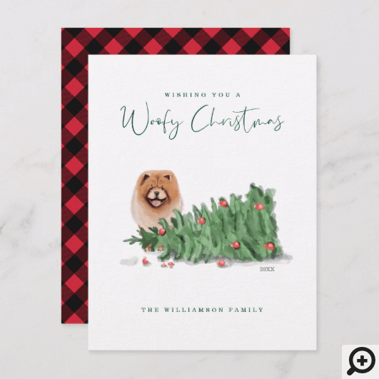 Naughty Dog Watercolor Chow Chow Knocked Tree Over Holiday Card