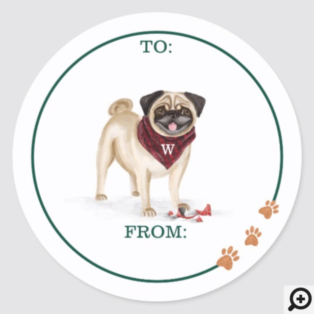 Naughty Dog Watercolor Cute Pug Broken Ornament Classic Round Sticker