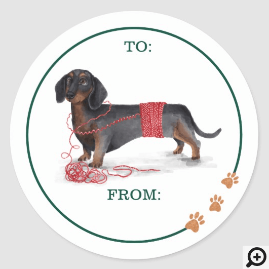 Naughty Dog Watercolor Dachshund Shredded Sweater Classic Round Sticker
