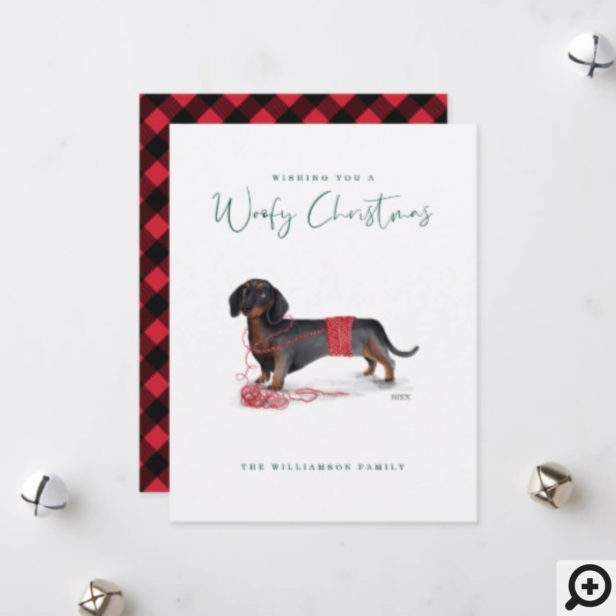 Naughty Dog Watercolor Dachshund Shredded Sweater Holiday Card