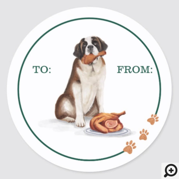 Naughty Dog Watercolor Pomeranian Eat Holiday Card Classic Round Sticker