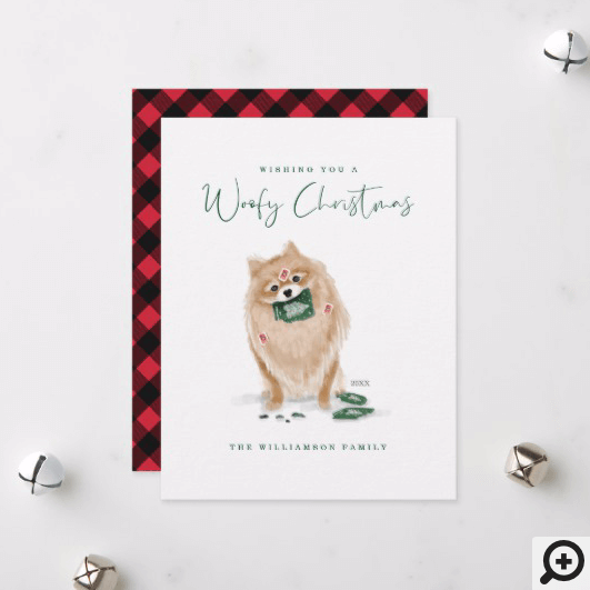 Naughty Dog Watercolor Pomeranian Eat Holiday Card