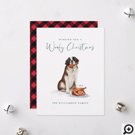Naughty Dog Watercolor St Bernard Eating Turkey Holiday Card