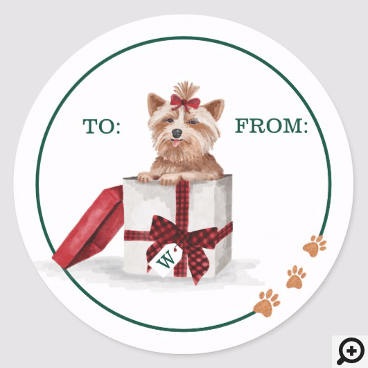 Naughty Dog Watercolor Yorkshire Terrier in Gift Classic Round Sticker