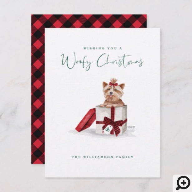 Naughty Dog Watercolor Yorkshire Terrier in Gift Holiday Card