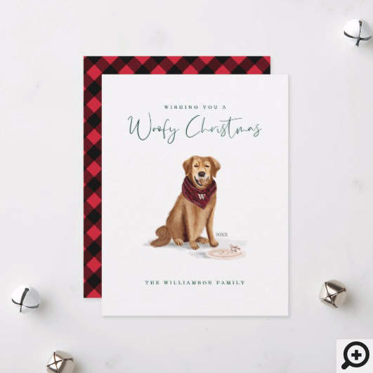 Naughty Golden Retriever Dog Christmas Cookies Holiday Card