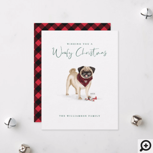 Naughty Watercolor Cute Bug Dog Broken Ornament Holiday Card