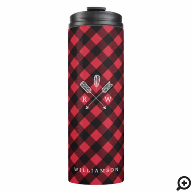 Red & Black Buffalo Plaid Pattern Arrow Monogram Thermal Tumbler