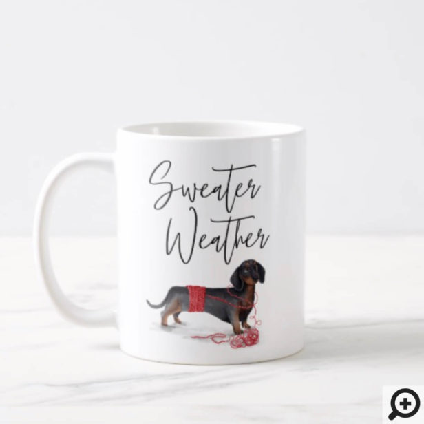 Sweater Weather Naughty Dog Watercolor Dachshund Coffee Mug