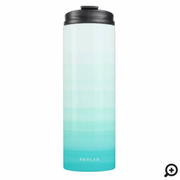 Turquoise Watercolor Ombre Gradient Thermal Tumbler