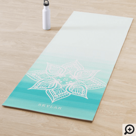 Turquoise Watercolor Ombre Mandala Monogram Yoga Mat
