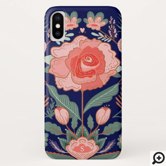 Whimsical Floral Japanese Rose Garden Botanical Case-Mate iPhone Case