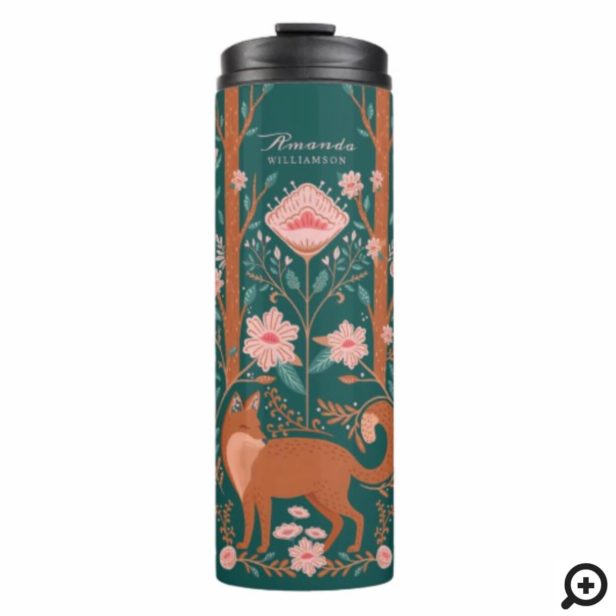 Whimsical Floral Woodland Fox Folk Art Style Green Thermal Tumbler
