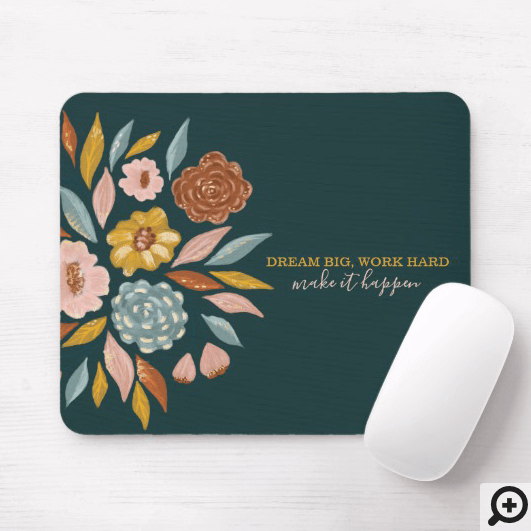 Abstract Botanical Floral & Leaf Oil Painting Mouse Pad