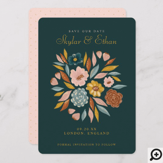 Abstract Botanical Floral & Leaf Oil Painting Save The Date