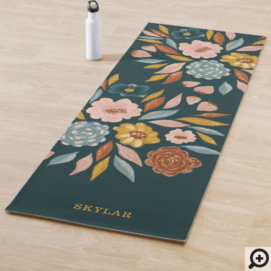 Abstract Botanical Floral & Leaf Oil Painting Yoga Mat