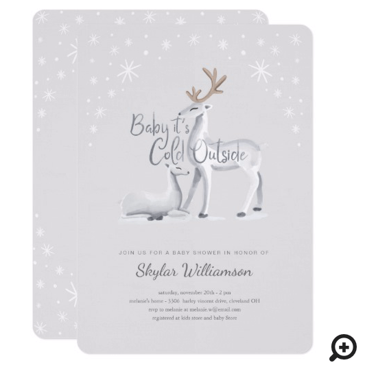 Baby It's Cold Outside Snowy Christmas Winter Deer Invitation