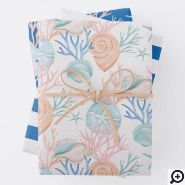 Coastal Blue Watercolor Seashell & Sripe Pattern Wrapping Paper Sheets