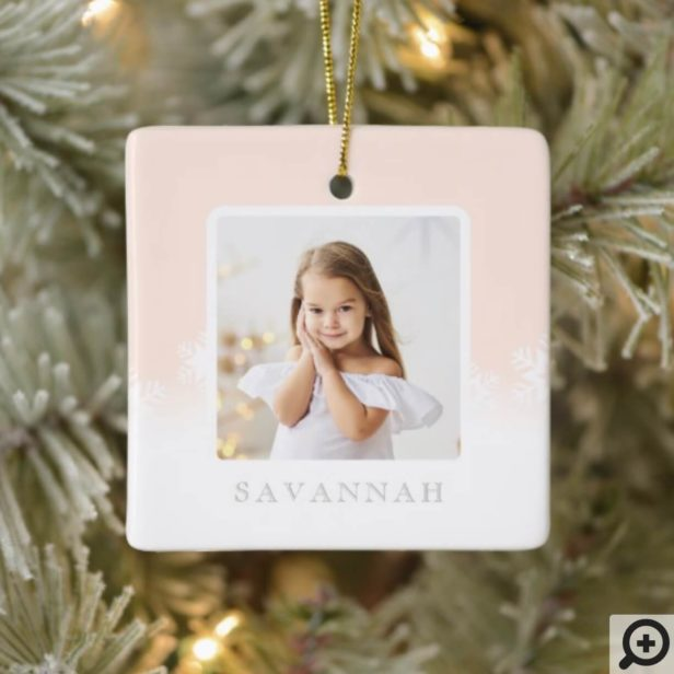 Minimal Blush Pink Ombre & Snowflake Two Photo Ceramic Ornament