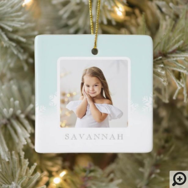 Minimal Mint Green Ombre & Snowflake Two Photo Ceramic Ornament