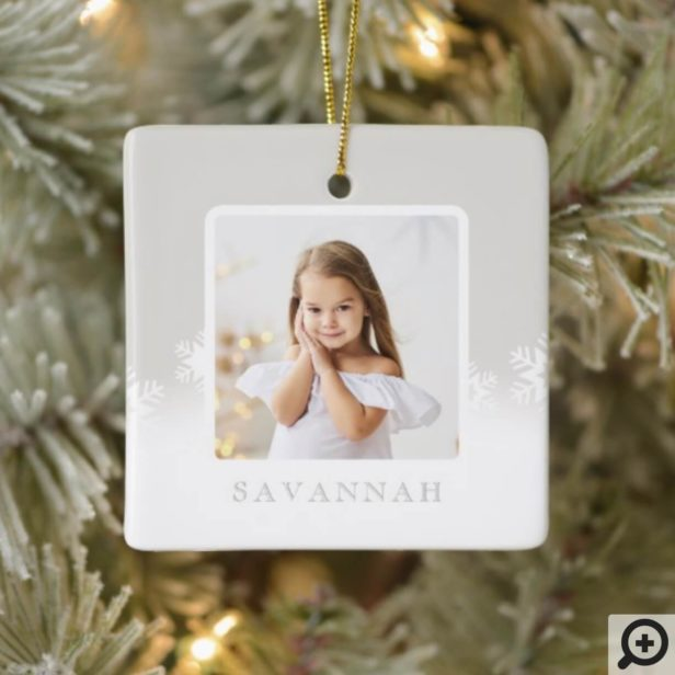 Minimal Powder Grey & Snowflake Two Photo Ceramic Ornament