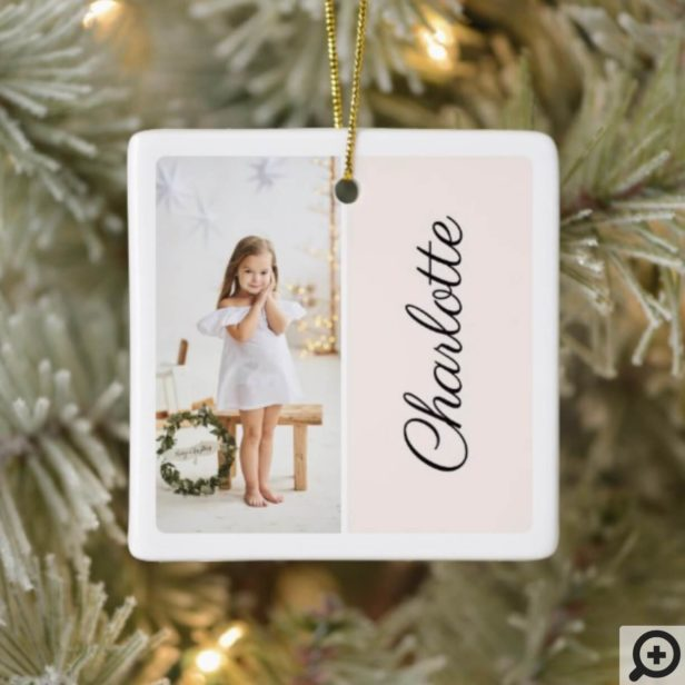 Minimal Two Photo Customized Name Blush Pink Ceramic Ornament