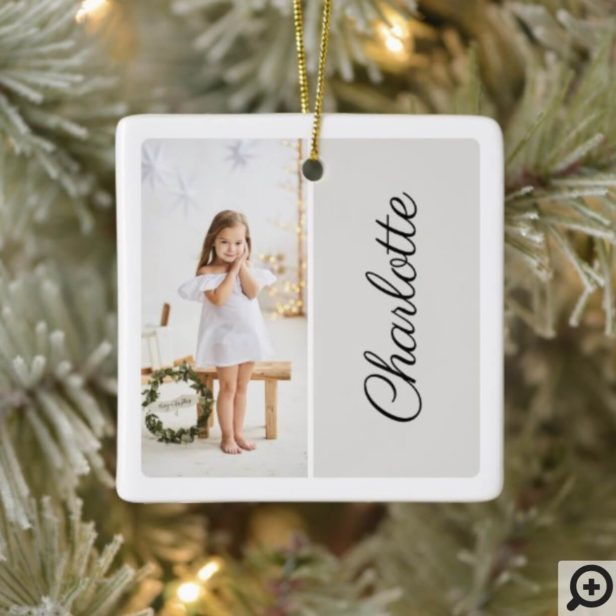 Minimal Two Photo Customized Name Light Grey Ceramic Ornament