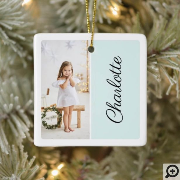 Minimal Two Photo Customized Name Mint Green Ceramic Ornament