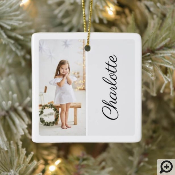 Minimal Two Photo Customized Name White Ceramic Ornament