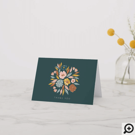 Modern Botanical Floral & Leaf Oil Painting Thank You Card
