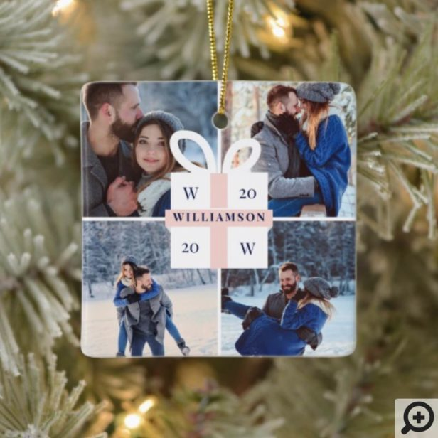 Modern Christmas Gift Monogram Four Photo Ceramic Ornament