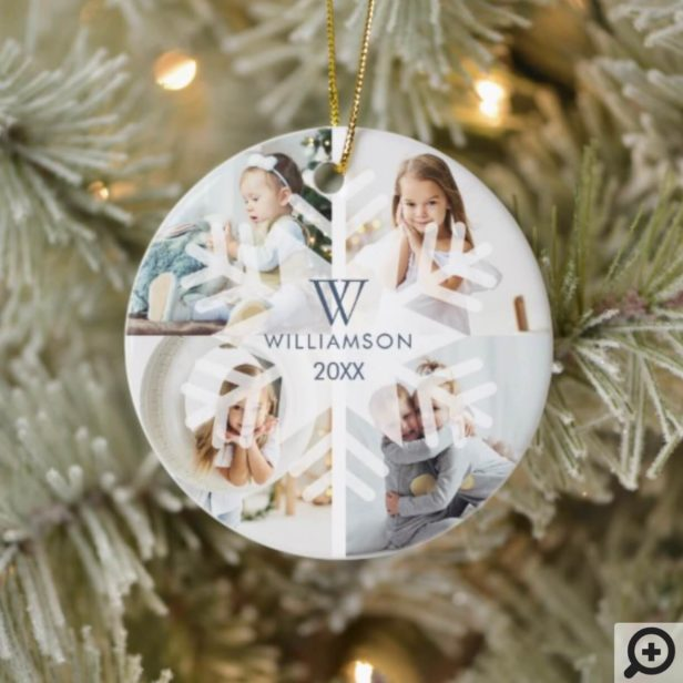 Modern Christmas Snowflake Monogram Four Photo Ceramic Ornament